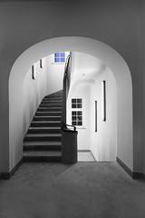 Something is blue (Elbmaedchen) Tags: treppenturm schwarzweis blackandwhite rundbogen stufen staircase hamburg berlinertor universität