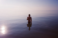 (Džesika Devic) Tags: ontario canada slide film summer boy swimming silhouette reflection water lake contax g2 blue 35mm