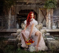 Bride Interrupted (Water to My Soul) Tags: woman bride dress gown flowers bouquet barn steps chair sitting left abandoned lurch interrupted phone plants red hair