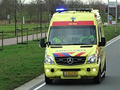 Mercedes-Benz Sprinter ambulance in Holland. (capelleaandenijssel) Tags: 2xlz01 truck trailer lorry camion lkw netherlands nl ziekenwagen 911 112 ambu rescue