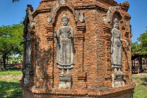 Buddha images on a stupa in Muang Boran (Ancient City) in Samut Phrakan, Thailand