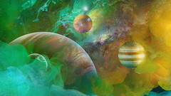 To boldly go where no man has gone before,... (Wim van Bezouw) Tags: 3dprinted planets water paint photoshop fishtank sony ilce7m2 3d print