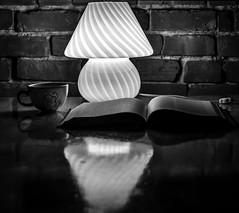 cafe and read by the lietz (jeanlapalme) Tags: leica ltm light lamp thread dark lowlight low rangefinder mount m8 monochrom leitz summitar m39 5cm reflection brick cup monochrome table book cafe noir shades reflet sombre et livre blanc telemetre reading photography lecture lire read mug darkness