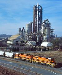 Working Lehigh (DJ Witty) Tags: rr photography emd dieselelectriclocomotive railroad fujichrome marylandmidlandrailway shortline geneseewyoming sd402 sd45 cementplant industrial