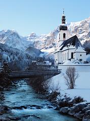 Malerwinkel (Monika Müthing) Tags: winter mountains alps bavaria germany river water snow sky blue church trees national outside
