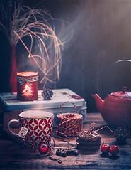 Tea and cookies (Ro Cafe) Tags: stilllife tea cookies homely darkmood naturallight steam cupoftea kettle red nikkor105mmf28 sonya7iii textured