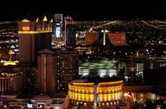 City Lights (Karen_Chappell) Tags: night city urban usa travel nevada lasvegas dark black light lights hotels buildings architecture cityscape orange red