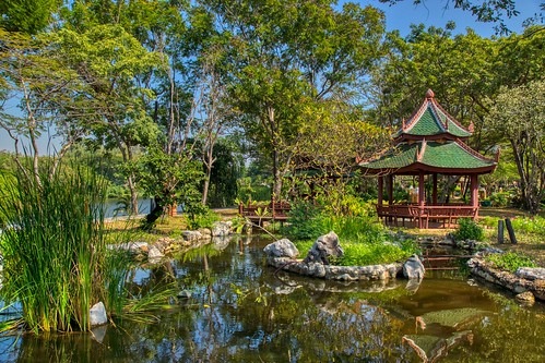 Water feature and garden with sala in Muang Boran (Ancient City) in Samut Phrakan, Thailand