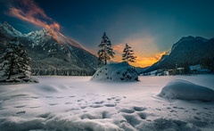 Frozen Lake (gregor158) Tags: sunset mountains mountain tree trees winter snow ice frozen orange clouds landscape hintersee germany europe travel places berchtesgaden