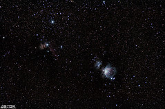 Orion, Flame and Horse Head Nebula (AstroBeard) Tags: astro astrophotography astronomy stars space skyatnight night sky constellation orion nebula flame portland dorset belt sword canon deep stacker m42 ngc2024 ngc 2024 stack skywatcher staradventurer bill carl zeiss jena 135 horse head messier barnard 33 astrometrydotnet:id=nova3879889 astrometrydotnet:status=solved