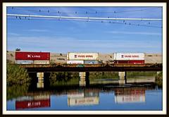 Yang Ming (REM Photo) Tags: hcs yangming rr boxcars reflections desert train birdsabove waterbelow rrbridge