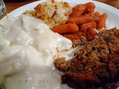 My Supper At Cracker Barrel. (dccradio) Tags: lumberton nc northcarolina robesoncounty indoor indoors inside food eat supper dinner lunch meal meat vegetable meatloaf chickenanddumplings dumplings carrots babycarrots hashbrowncasserole friday evening fridayevening goodevening january samsung galaxy sma205u a20 cellphone cellphonepicture crackerbarrel restaurant