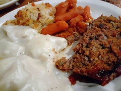 Dinner At Cracker Barrel. (dccradio) Tags: lumberton nc northcarolina robesoncounty indoor indoors inside food eat supper dinner lunch meal meat vegetable meatloaf chickenanddumplings dumplings carrots babycarrots hashbrowncasserole friday evening fridayevening goodevening january samsung galaxy sma205u a20 cellphone cellphonepicture crackerbarrel restaurant