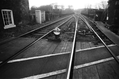 36 Knaresborough train tracks (I ♥ Minox) Tags: film 2020 olympus om2 om2n olympusom2 olympusom2n om2n582 ilford hp5 ilfordhp5plus 400asa knaresborough northyorkshire yorkshire