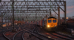 A Clear Throat (whosoever2) Tags: uk united kingdom gb great britain england nikon d7100 train railway railroad january 2020 manchester piccadilly freightliner class66 66590 4h81 crewe traffordpark sundown sunset winter track