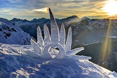 Light enough to travel (pauldunn52) Tags: maura sculpture environmental art dolomites italy sun snow