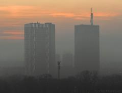 Air pollution in Belgrade (Marko733) Tags: belgrade serbia beograd srbija air pollution polluted skyscraper skyscrapers buildings sunset city cities street view sky trees balkans skyline