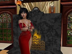 They Want Me Onstage Now (Cherie Langer) Tags: brunette gown fireplace club windows garden flowers fantasy singer