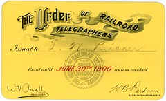Order of Railroad Telegraphers Membership Card, 1900 (Alan Mays) Tags: ephemera membershipcards unioncards cards paper printed ricker lwricker orderofrailroadtelegraphers granddivision railroadtelegraphers telegraphers telegraphy telegraphs railroads trains unions orders societies organizations groups members membership powell wvpowell presidents perham hbperham secretaries treasurers signatures logos seals circles fillintheblanks gaslightstyle banners scrolls dropshadow textonacurve curvedtext yellow red victorian june30 1900 1900s antique old vintage typefaces type typography fonts