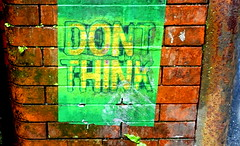 """""""Don't Think"""" (Tony Worrall) Tags: uk stream nw open place northwest north visit location area update attraction welovethenorth greatbritain outside tour pics britain sale country stock gb buy british capture sell item photooftheday photohour street england urban streetart wall outdoors photo paint shoot shot painted captured picture caught dailyphoto instragram ilobsterit show brick art graffiti mural artist arty grim urbanart made colourful daub"""