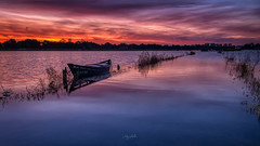 Amanecer en los arrozales (:) vicky) Tags: agua amanecer albufera airelibre valencia comunidadvalenciana spain clouds nubes barco barca