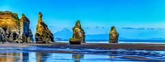 The Three Sisters Pano (David Hamments) Tags: mountegmont threesisters tongaporutu panorama beach taranaki mounttaranaki
