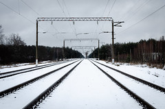 Railroad tracks in winter. (ivan_volchek) Tags: train winter tracks background journey rail railroad transport transportation travel snow railway wires passenger industry industrial commuting station infrastructure commerce white metal landscape cold cityscape voyage vehicle urban freight old transit traffic shipping electric russia city dirty grunge semaphore grungy cars carriage track locomotive cargo abstract pattern russian outdoors business