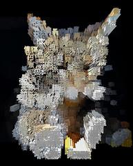 Extruded Tigger (Kanji) (sjrankin) Tags: 18january2020 edited processed 3d extruded test output closeup animal cat tigger yubari hokkaido japan