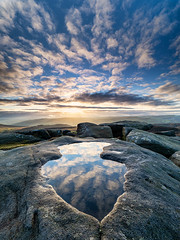 Stanage reflections (Stephen Elliott Photography) Tags: peakdistrict derbyshire stanageedge sunset reflections gritstone puddle olympus em1 714mm kase filters benro tripod