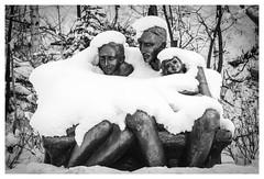 DSC_4740-Mr (gillesporlier) Tags: winter hiver statue bnw noiretblanc monochrome famille landscape paysage urban urbain