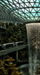 Rain Vortex at Jewel Changi Airport (Singapore) (SKHO ) Tags: panorama changiinternationalairport singaporechangiinternationalairport singapore architecture architectural nikond200 d200 nikon travel airportterminal airport jewelchangi rainvortex