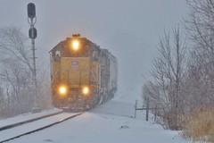 Towards Home Base - Albert Lea, MN (MinnKota Railfan) Tags: rail railroad engine loco locomotive train up union pacific railway gp382 geep local 17 ltc17 spine line albert lea minnesota iowa mn ia sub subdivision snow winter storm