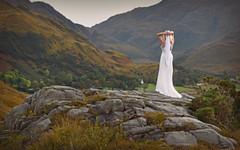 Bella Vista.. (Harleynik Rides Again.) Tags: glen scotland mountains facelessportrait glamour weddingdress whitedress womaninlandscape womaninnature vista bellavista backshot juxtaposition harleynikridesagain