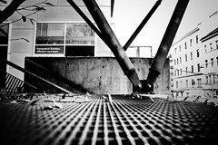 Construction (Missing Pictures) Tags: travel autumn blackandwhite bw white black fall monochrome architecture contrast austria construction europe mood eu architectural explore vein traveling supports explored street town urban