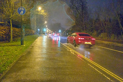 Haslett Avenue, Crawley (13/366) [Explored] (marktandy) Tags: haslett avenue crawley evening night rain spray car street 366 pavement wet