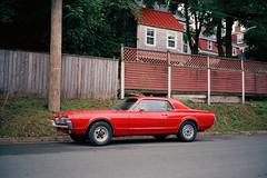 (<mmb>) Tags: film analog 120 medium format fuji gw690iii cinestill 800t mercury cougar red car auto automobile st johns newfoundland