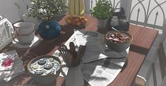 Sweet Breakfast (Miru in SL) Tags: second life sl mesh decor furniture home garden kitchen breakfast dust bunny apple fall krescendo madras sways peaches morning