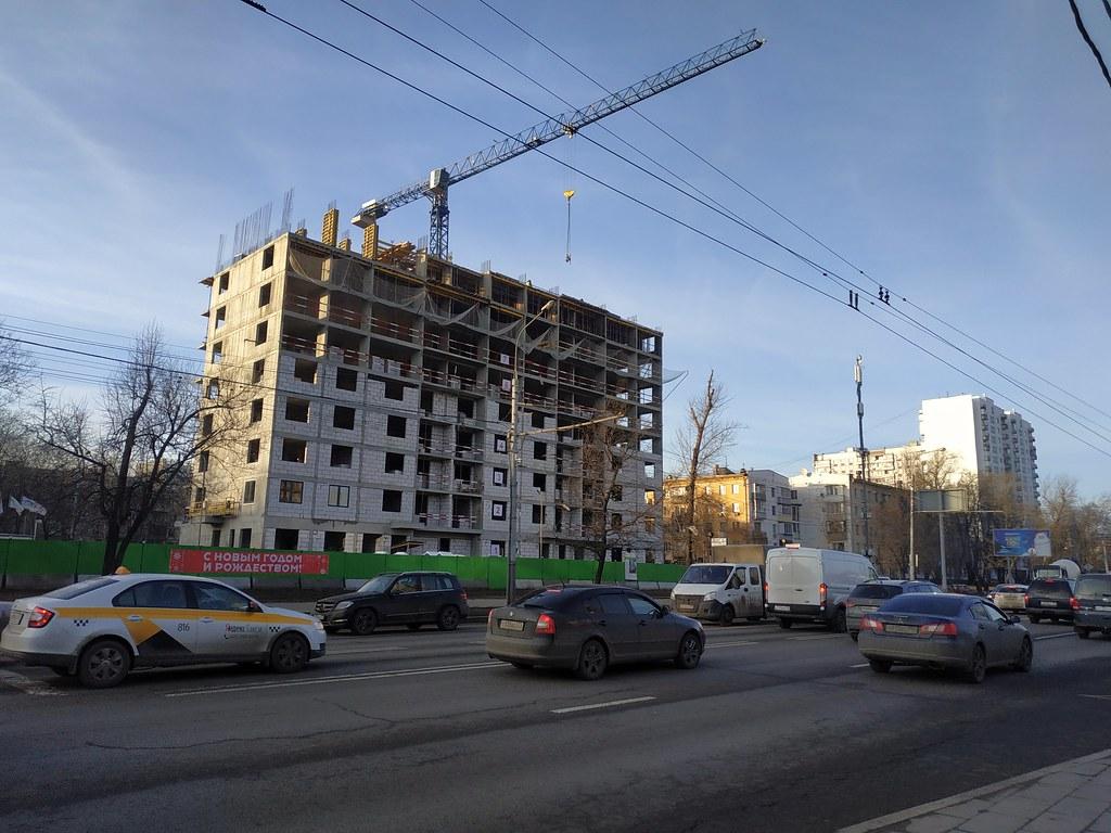 фото: Шереметьевская улица 2020-01, стройка на месте дома К-7