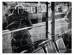 platform.view. (HansEckart) Tags: sw station bw streetphotography mono street city hamburg reflection