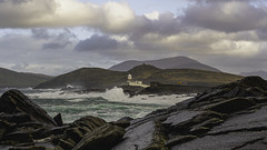 Valentia Lighthouse between the rocks (dave.ryan.photo) Tags: atlantic atlanticocean countykerry ireland lighthouse ocean rocks sea stock valentia waves wildatlanticway