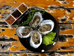 Fresh Thai Oyster Set (Vintage Seafood Background). (baddoguy) Tags: acacia tree animal shell arranging black color bowl brown chili sauce choice closeup image deep fried directly above fine dining food drink four objects freshness glue gourmet green group of healthy eating high angle view horizontal indoors ingredient leaf meal menu no people oldfashioned onion oyster pattern photography plate raw readytoeat restaurant retro style rustic savory seafood table thai culture thailand variation vegetable white wood material