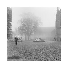Morning scene (nenahuak) Tags: street tree plaza mist fog autocord fomapan rodinal