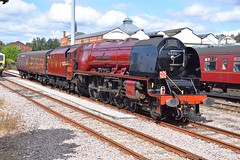 Heavyweight LMS  Pacific Locomotive No.6233 'Duchess of Sutherland' in the naughty corner at Norwich. 08 09 2019 (pnb511) Tags: train loco locomotive smoke steam carriages tree trees track lms pacific norwich anglia eastanglia greateastern tour touring 462