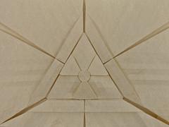 ☢ Radioactive Tessellation II ☢ (Michał Kosmulski) Tags: origami paperfolding paperfold paperart papercraft tessellation trefoil radioactivity radioactive handmade ionizingradiationsymbol radioactivitysymbol ☢ michałkosmulski elephanthidepaper beige