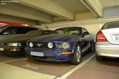Ford Mustang GT Cabriolet (Monde-Auto Passion Photos) Tags: voiture vehicule auto automobile cars ford mustang gt cabriolet convertible roadster spider sportive bleu blue parking sousterrain foch france paris