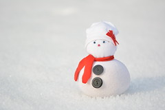 little snow to build a snowman, never mind ... (Slávka K) Tags: white red snowman snow light nopeople winter 2020 january