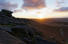 Higher tor sunrise. (S.K.1963) Tags: peak district derbyshire higger tor carl wark sunrise moors rocks sky clouds england sony a7iii 24 105mm f4