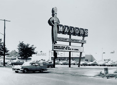 Majors Discount Store - Staten Island, New York (1965) (Christian Montone) Tags: 1960s 60s statenisland nyc newyork majors discountstore 1965 vintagephoto signs vintagesign