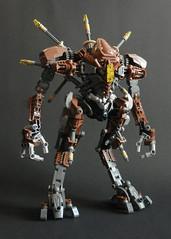Solar Strider (Kingmarshy) Tags: lego bionicle hero factory ccbs moc figure robot machine walker strider sand solar legs tall creation brown flesh dark grey gray yellow metru design mech mecha hands big large giant