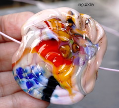 Agueda (Laura Blanck Openstudio) Tags: openstudio openstudiobeads handmade lampwork glass murano beads single focal bead big holes huge flat shiny bold fine art arts artist artisan made usa jewelry necklace pendant boutique abstract asymmetric earthy organic nugget rock pebble stone choker boho bohemian urchin flower swirl lucky charm sterling silver silvered peach pink light rose blush blue gray orchid orange coral yellow ocher fuchsia red lilac lavender